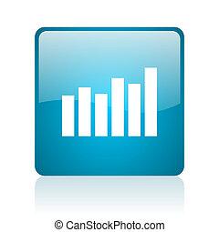 bar graph blue square web glossy icon