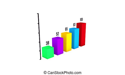 Bar graph comparative growth chart 3d