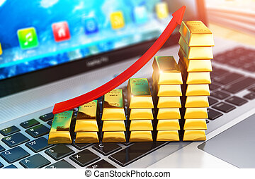 Bar graph from gold ingots on laptop or notebook