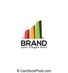 Bar graph logo vector on white background.