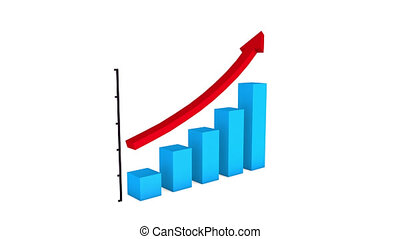 Bar graph of growth with a red arrow
