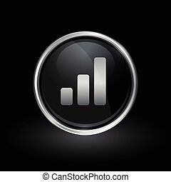 Bar graph progress icon inside round silver and black emblem...