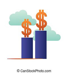 bar graph with dollar symbol isolated icon