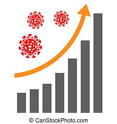 Bar graph with growing number of infections concept. Novel ...