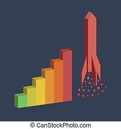 bar graph with rocket