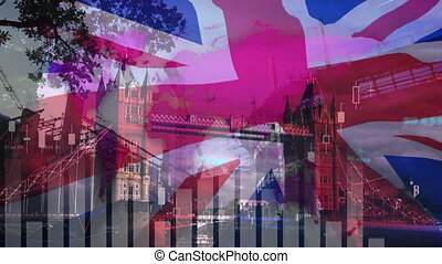 Bar graphs over Great Britain flag against cityscape - ...