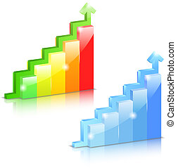 Growing bar graphs with arrow, vector eps10 illustration