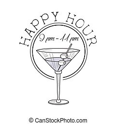 Bar Happy Hour Promotion Sign Design Template Hand Drawn Hipster Sketch With Martini Cocktail With Olives