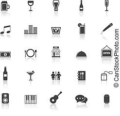 Bar icons with reflect on white background