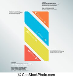 Bar illustration template consists of four color parts on blue background