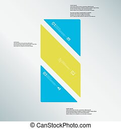 Bar illustration template consists of three color parts on blue background