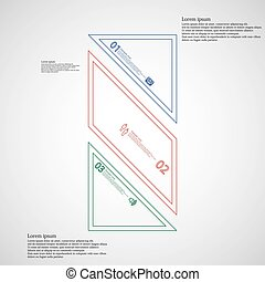 Bar infographic template askew divided to three color parts