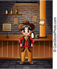 bar, kowboj, chłopiec, odzież