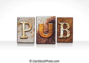 bar, letterpress, conceito, isolado, branco