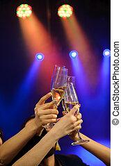 bar, leute, lose, kasino, oder, fune, champagner, haben