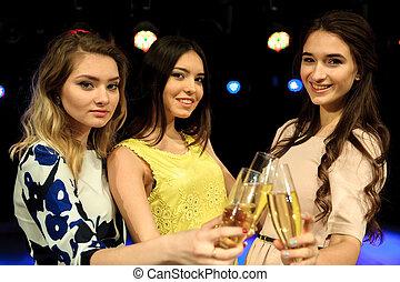 bar, leute, lose, kasino, oder, spaß, champagner, haben