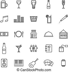 Bar line icons on white background