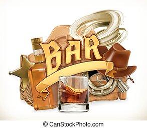 Bar logo. Western retro style. 3d vector emblem