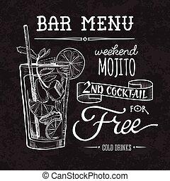 Bar menu of cocktail proposal