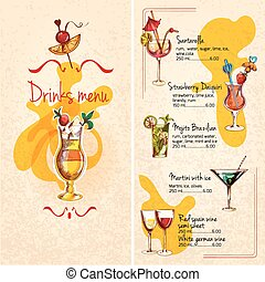 Bar Menu Sketch - Restaurant bar wine cocktails and...