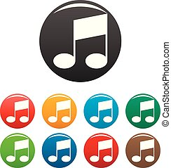 Bar musical note icons set color