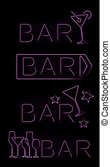 Bar neon signs set