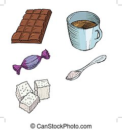 Bar of chocolate, Cup of coffee, Wrapping candy, Spoon with sugar, C