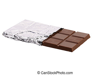 Bar of chocolate in foil.