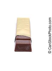 Bar of chocolate in gold foil.