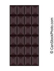 Bar of dark organic sweet chocolate isolated