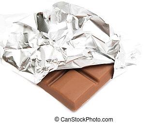 bar of milk chocolate in a foil