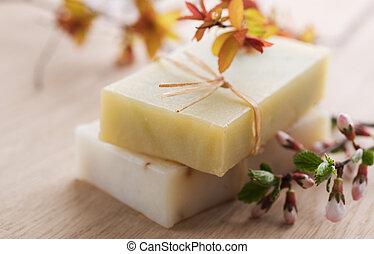 Bar Of Natural Handmade Soap With Herbs
