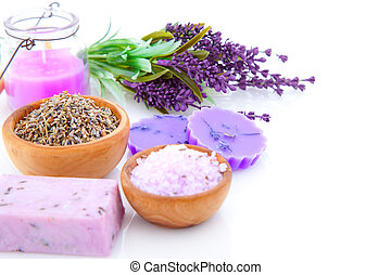bar of natural soap, dry Lavender herbs and bath salt  isolated on white background