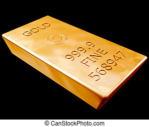 Bar of Pure Gold - Single bar of pure gold isolated on a...