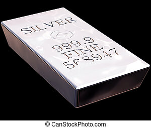 Bar of Silver - Single bar of pure silver isolated on a...