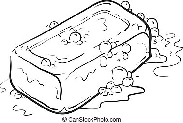 Bar of soap sketch - Doodle style soap with bubbles bathroom...