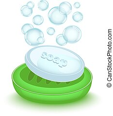 bar of soap with bubbles - shiny soap with bubbles in a...