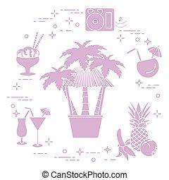 Bar on the beach, cocktails, ice cream, fruit.