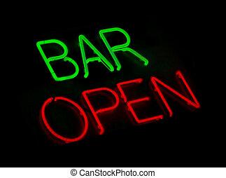 Bar open neon light on black