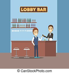 Bar or cafe in the hotel with alcohol drinks. Beer and wine....