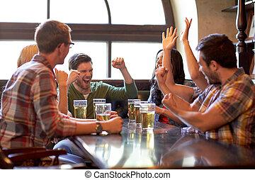 bar, piłka nożna, miłośnicy, piwo, sport, przyjaciele, albo