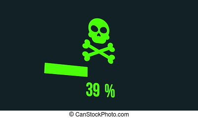 bar., pirate informatique, attaque, chargement, animation, crâne