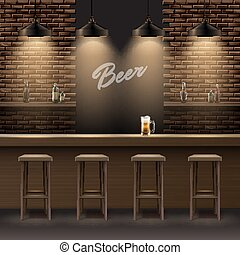 Bar, pub interior - Vector bar, pub interior with brick...