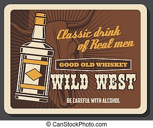 bar, pub, ouest, whisky, barre, sauvage, cow-boy