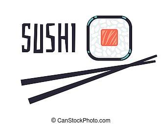 bar, restauracja, sushi, szablon, logo, albo