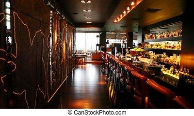 bar, restaurant, garçon, toonbank, vaas, stander,...
