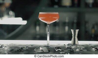 bar, rood, cocktail