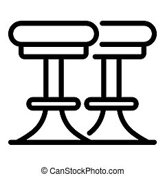 Bar round chairs icon. Outline bar round chairs icon for web design isolated on white background