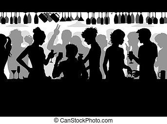 Bar scene silhouette