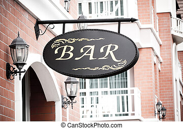 Bar sign in the street